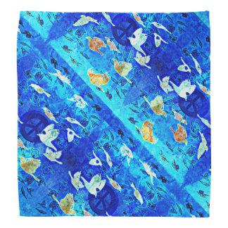 Blue Peace Birds Patterned Bandana