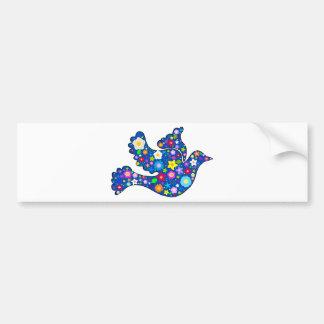Blue Peace Dove made of decorative flowers Bumper Sticker