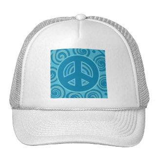 Blue Peace Sign Design Cap