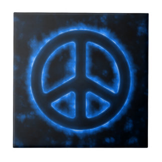 Blue Peace Sign Small Square Tile