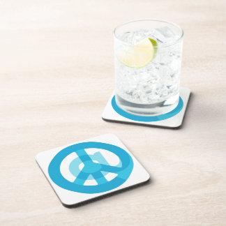 Blue @Peace Sign Social Media At Symbol Peace Sign Drink Coaster