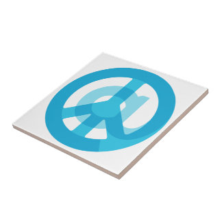 Blue @Peace Sign Social Media At Symbol Peace Sign Small Square Tile