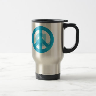 Blue @Peace Sign Social Media At Symbol Peace Sign Stainless Steel Travel Mug