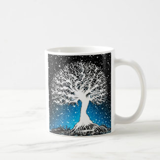 Blue Peace Tree with Soft Snow Coffee Mug