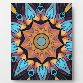 Blue Peach Artistic Mandala Photo Plaques