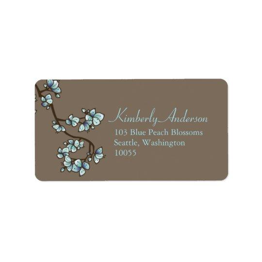 Blue Peach Blossoms Asian Wedding Address Labels