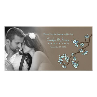 Blue Peach Blossoms Wedding Thank You Photo Card