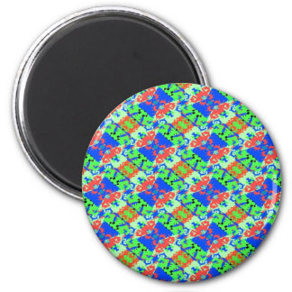 Blue Peach Lime Plaid Design 6 Cm Round Magnet