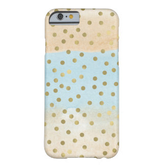 Blue Peach Watercolor Gold Confetti Dots Stripes Barely There iPhone 6 Case