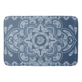 blue peacock bath mat