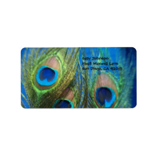 Blue Peacock Feathers Label