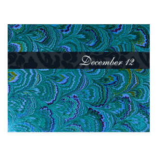 Blue Peacock Feathers Save the Date Postcard
