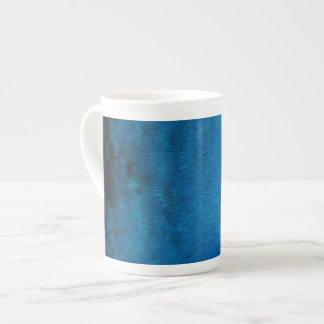 Blue peacock feathers tea cup