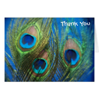 Blue Peacock Feathers Wedding Thank You Card