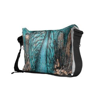 blue peacock messenger bag