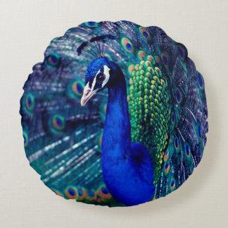Blue Peacock Round Cushion