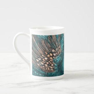 blue peacock tea cup