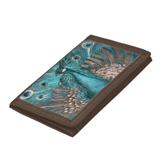 blue peacock trifold wallets