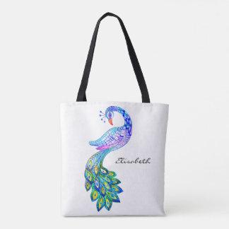 Blue peacock watercolor tote bag