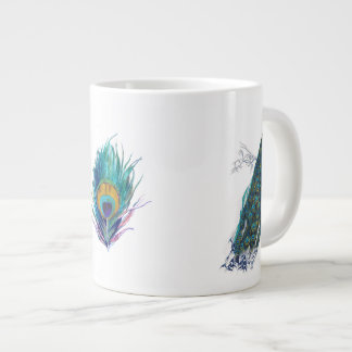 Blue Peacock with beautiful tail feathers Large Coffee Mug