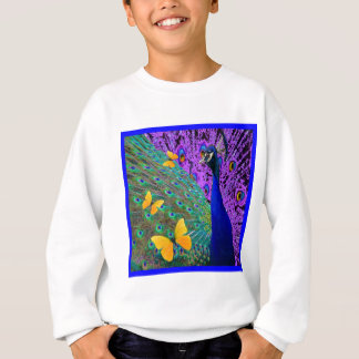 Blue Peacock Yellow Butterflies Fantasy Art Sweatshirt