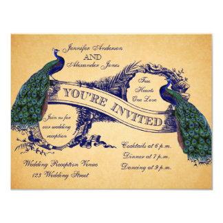 Blue Peacocks Vintage Wedding Reception Invitation