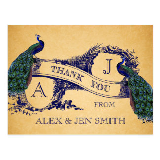 Blue Peacocks Vintage Wedding Thank You Postcard