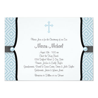 Blue Pearl Cross Black Blue Christening Announcements