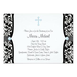 Blue Pearl Cross Blue Black Damask Christening 13 Cm X 18 Cm Invitation Card