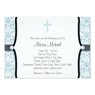 Blue Pearl Cross Blue Black Damask Christening Card