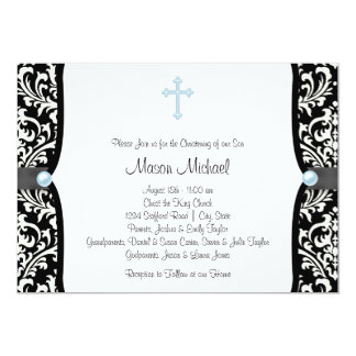"Blue Pearl Cross Blue Black Damask Christening 5"" X 7"" Invitation Card"