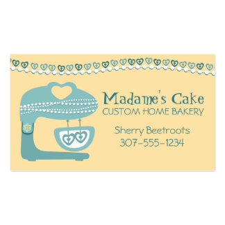 Blue pearls stand mixer bakery cake cookies card business card template