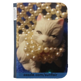 Blue Pearls Sweet Kitty Hat Kindle 3G Covers