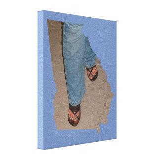 Blue Pedi & Jeans GA State Outline Canvas
