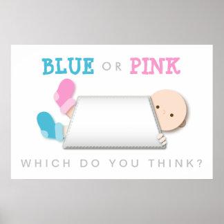 Blue Peek-a-Boo New Baby Boy Poster