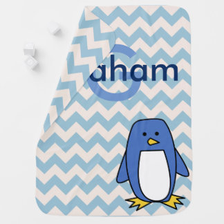Blue Penguin Chevrons & Baby's Name Baby Blanket
