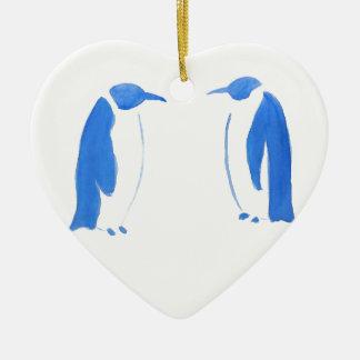 Blue Penguin Duo Ceramic Heart Decoration