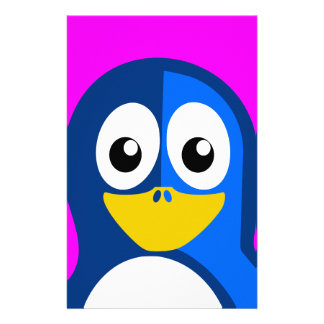 Blue Penguin on Purple Stationery