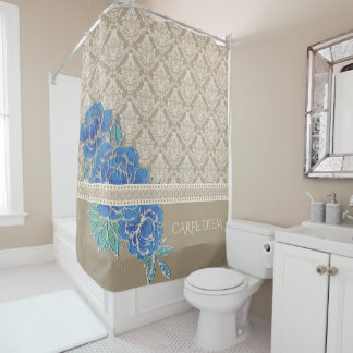 BLUE PEONIES & DAMASK ~ Shower Curtain