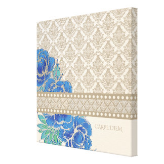 BLUE PEONIES & DAMASK - Wrapped Canvas