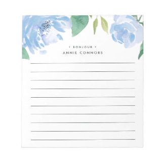 Blue Peony | Personalized Lined Notepad