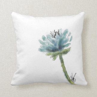 Blue Peony Square Pillow