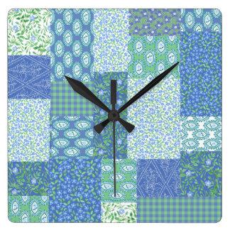 Blue Periwinkle Floral Boho Faux Patchwork Pattern Clocks