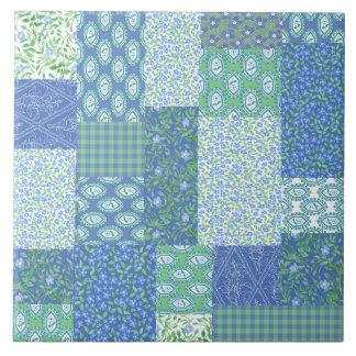Blue Periwinkle Floral Boho Faux Patchwork Pattern Large Square Tile