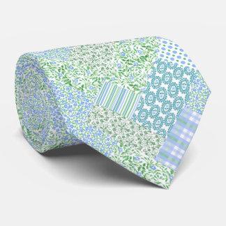 Blue Periwinkle Flowers Vintage Faux Patchwork Tie