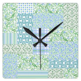 Blue Periwinkle Flowers Vintage Faux Patchwork Wallclocks