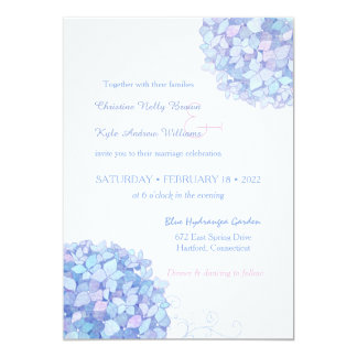 Blue Periwinkle Hydrangeas Garden Wedding Card