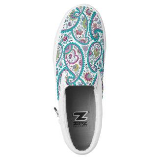 Blue Persian Boteh Paisley Pattern Slip Shoes
