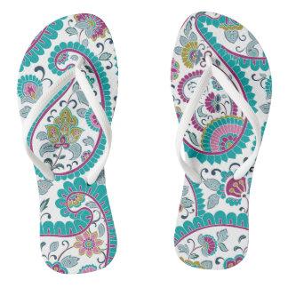 Blue Persian Boteh Paisley Pattern woman Flip Flop
