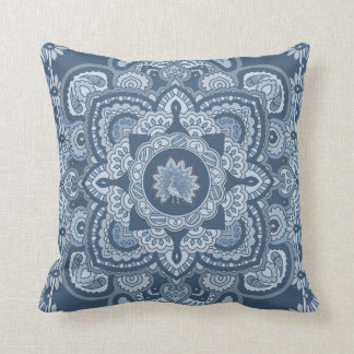 Blue Persian Peacock Throw Cushions